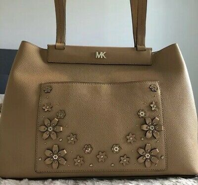 f6421ec621cf50 MICHAEL KORS Meredith Medium Leather Tote Bag Purse Butternut 30T8TKWT8Y