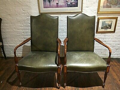 Pair of Antique Gooseneck Leather Chairs