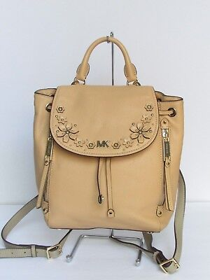 517e7c701170 MICHAEL KORS EVIE Flower Garden Leather Backpack Butternut / Gold ...