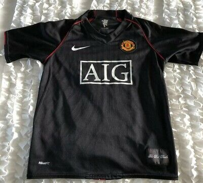 125bbc7a2 Nike Manchester United AIG Black Soccer Jersey Child Sz Large (See  Measurements)