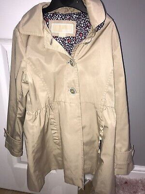 Michael Kors Lined MAC Raincoat Age 7/8 Hooded Girls Designer Beige School