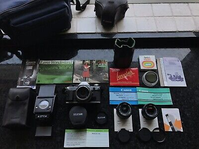 Vintage Canon AE-1 Camera & 2x Canon FD Lenses with Speedlite 199A Flash + more