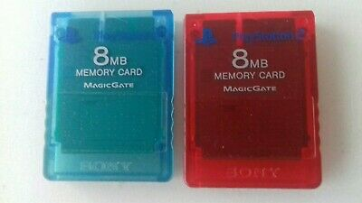 2 Official PlayStation 2 8MB Memory Card Clear Blue & Clear Red PS2