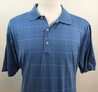 38dc0faac Peter Millar Blue with Red and White Plaid Short Sleeve Golf Polo Shirt XL  EUC