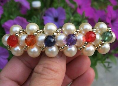 Vtg New Pearl With Multi Color Beads Hair Barrette Clip Retro Color Beaded 70's