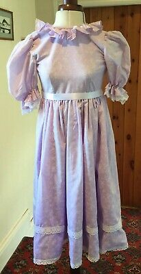 GIRL'S VINTAGE 1980's VICTORIAN STYLE LILAC FLORAL BRIDESMAID DRESS