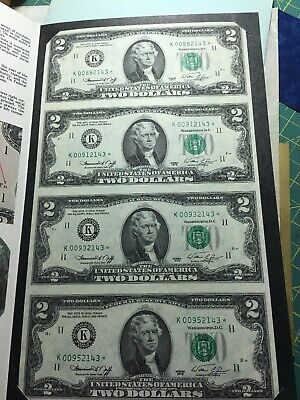1976 two dollar bill-four bills uncut sheet-Neff and Simon-unc.