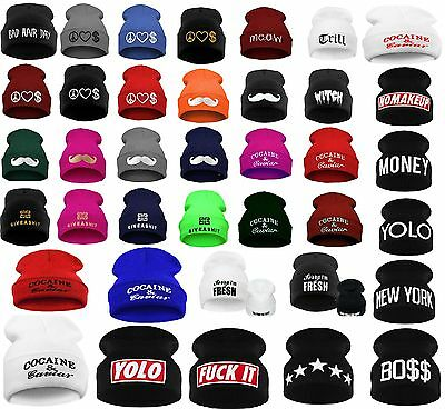 900a0b11ef3 Men Women Winter Beanie Hat Bad Hair Day Caviar Wasted Youth GEEK OVERSIZED
