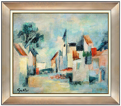 Egon Adler Original Oil Painting On Canvas Large Signed Abstract Cityscape Art