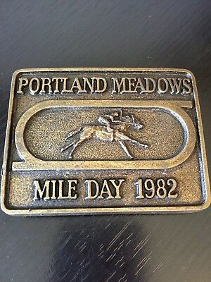 Portland Meadows Mile Day 1982 Belt Buckle Jockey Horse Race Tracking Racing