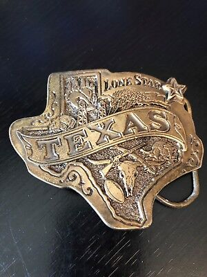 Texas Lone Star Belt Buckle Has it All Long Horn Star State Outline Football