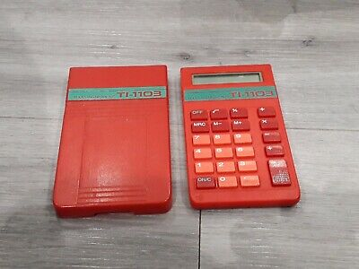 Texas Instruments TI-1103 Vintage 1980s Red Hard Cased Pocket Calculator