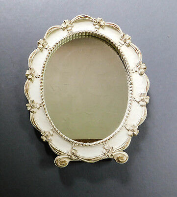 Vintage Syroco Mirror Frame Cream Gold Oval Ornate Composition Wood Wall Stands