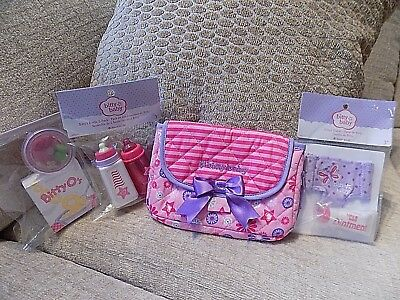 Ag/bitty Baby Mommy Mini Wristlet Diaper Bag For Little Girl W/3 Accessories