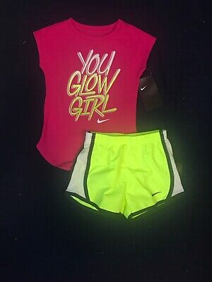 3f78a63cde Nike Toddler Girl 2 Pc Outfit Set Athletic Cut Tee Shirt & Dri-Fit Shorts
