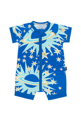 Bonds Baby Short Sleeve Zip Wondersuit Romper size 0000 Colour Blue Galaxy