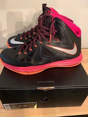 online store 1b2ff f6751 Nike Lebron X Floridians 541100-005 Black Metallic Silver-Total Orange- Fireberry
