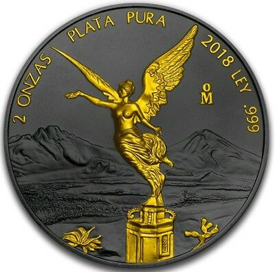 2018 MEXICAN LIBERTAD Ruthenium 2 Oz Silver Coin, 24Kt Gold