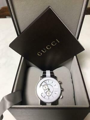 029823cc941 GUCCI watch G-chronograph ceramic collection YA101345 (101M) men s white  black