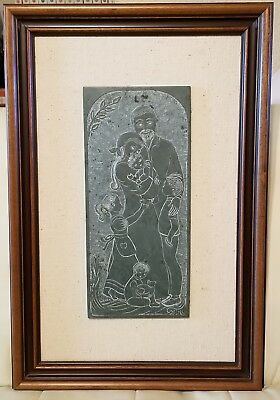 """Hand carved Sculpture Slate Carving by Gisele Buxton """"Family"""" framed"""