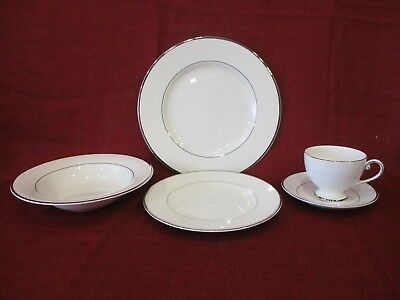 "New 5-Piece Place Setting Mikasa Ultima Super Strong Fine China ""Cameo Platinum"""