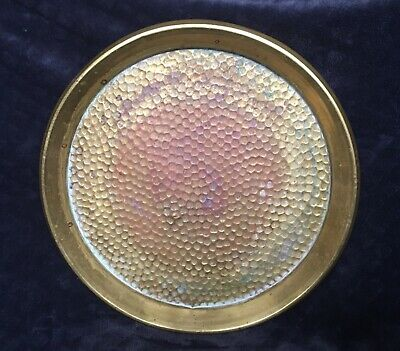 Antique Vintage Patinated Hammered Brass Arts & Crafts Style Tray