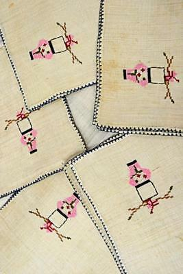 antique Chinese silk table linen set 8 placemats 8 napkins 1 runner embroidered
