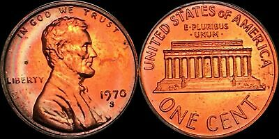 1970-S Lincoln Memorial 1 Cent Penny Beautiful  Color Toned Coin In High Grade