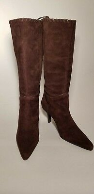 8b24cde3477 WOMEN'S NINE WEST Knee High Boots Brown Suede Thin Heel Pointed Toe Size 7  Med.