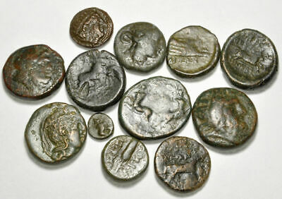 Group of 12 Ancient Greek Bronze Coins (004)