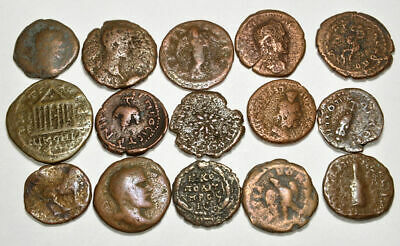 Group of 15 Ancient Roman Provincial Bronze Coins (005)