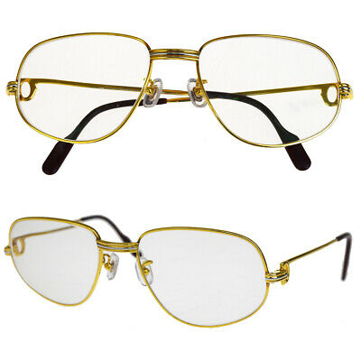 b676192db32 Auth Must de Cartier Trinity Glasses Eye Wear Plastic Metal Gold France  64EP441