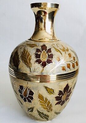 "Beautiful Antique Handcrafted Heavy (1kg) English 10""/25cm Enamelled Brass Vase"