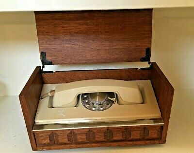 VINTAGE 1970's Western Electric Executive Stowaway Rotary Desk Phone in Wood Box