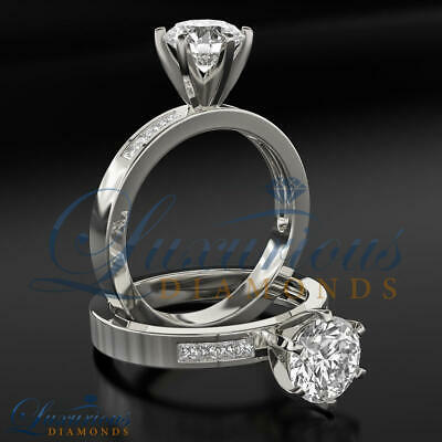 1.55 CT Bridal Diamond Ring D VS Round Cut Accented Solitaire Size 5 6 7