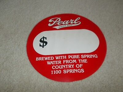 Pearl Beer Round Advertising Paper Sign-Brewed With Pure Spring Water