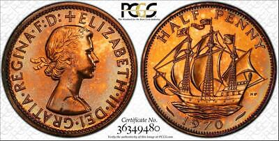 1970 Great Britain Half Penny Pcgs Pr65Rd Proof Toned Coin In High Grade