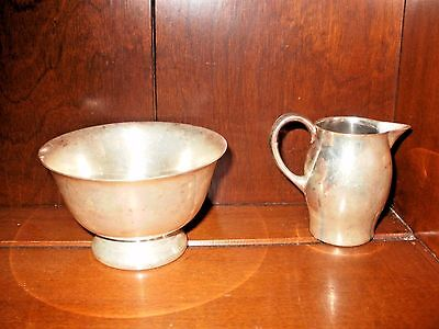Primitive,Silverplate Pitcher & Bowl, Miniature, Paul Revere Repro, Early Americ