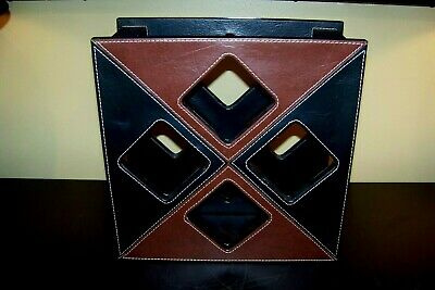 Geometric Square Brown & Black Leather Wine Rack / 4-Bottle Storage Organizer