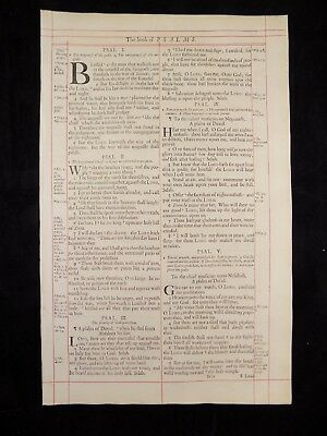 1680 Oxford First Folio King James Bible Leaf *book Of Psalms Title Page* Nf
