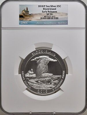 2018-P 5oz SILVER 25C Block Island NGC SP 70 Early Releases perfect must see!