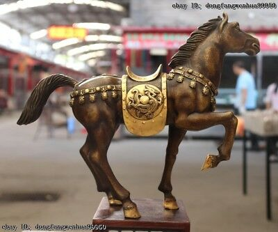 China Royal Bronze Copper Gold Gilt Lucky Wealth Running Tang Horse Steed Statue