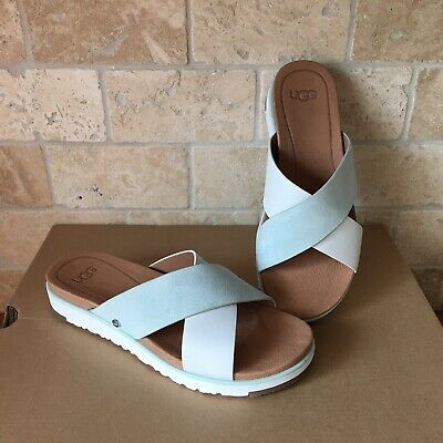 178f2c0c213 UGG KARI White Slides Criss Cross Womens Sandals 9.5 Nib - $74.99 ...