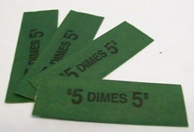 200 Dime Coin Wrappers Flat Tubular Green Kraft Paper