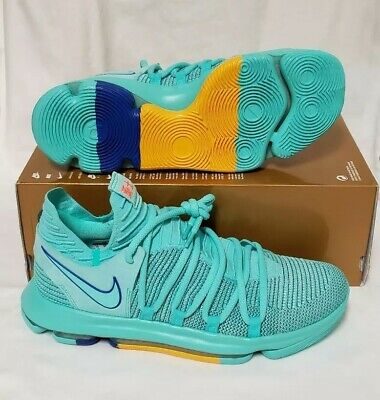 4dcd46dfc43 Mens Nike Zoom KD10 Size 10 City Edition Hyper Turquoise Racer Blue 897815  300
