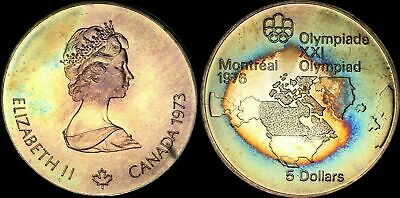 """1973 Canada $5 Dollars Bu """"Map Of North America"""" Olympic Toned High Grade Coin"""