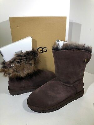 68fcc8cf159 UGG W VALENTINA Women Sz 6 Dark Brown Suede Pull On Swarovski Boots X16-1016