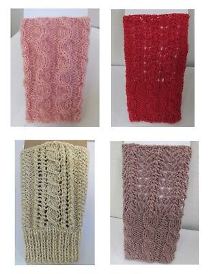 New wool fingerless gloves warmers cable handknit handmade red rose ivory purple