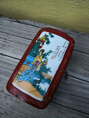 Vintage Chinese Hand Painted Scene On Tile Lid Lacquered Red Trinket Box