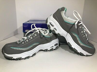 SKECHERS D'Lites Air Cooled LIFE SAVER Womens Sz 7.5 M Gray Mint Shoes F2-249